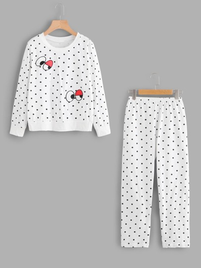 Embroidered Spot Pullover And Pants Pajama Set