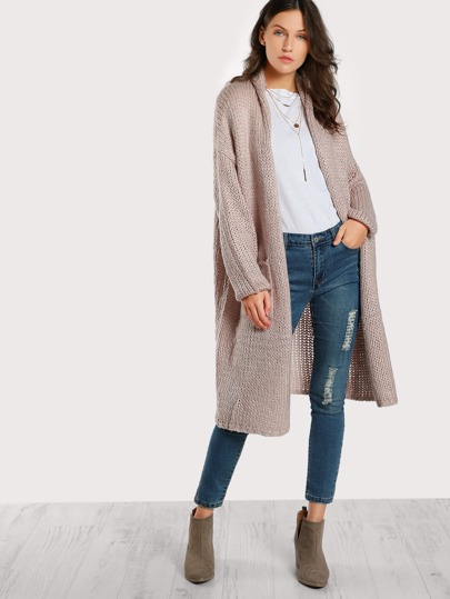 Knitted Longline Cardigan MAUVE