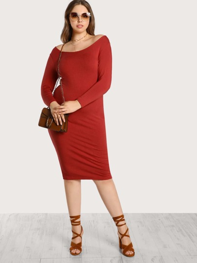 Quarter Sleeve Midi Dress RED