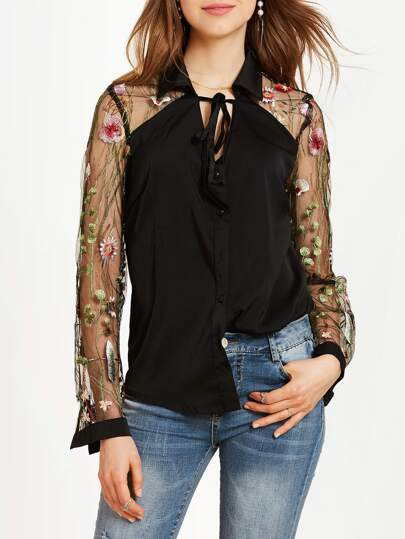 Embroidery Mesh Panel Tie Detail Blouse
