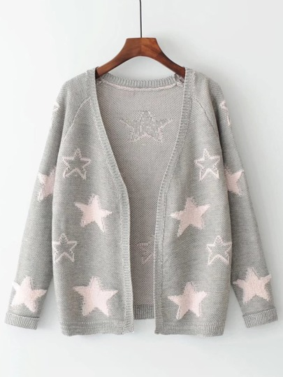 Star Pattern Open Front Cardigan