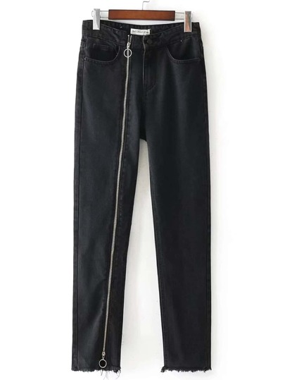 Zipper Up Frayed Edge Jeans