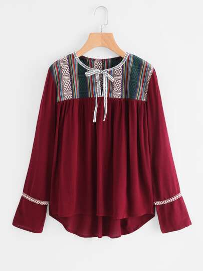 Embroidered Taped Self Tie Dip Hem Blouse