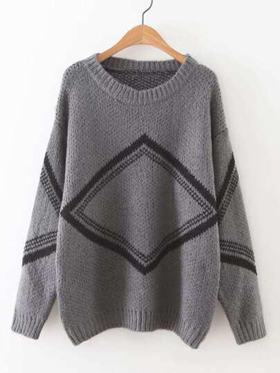 Geometric Pattern Drop Shoulder Sweater