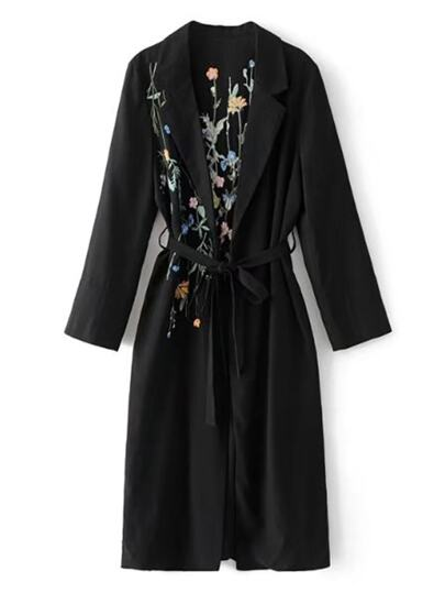 Embroidered Back Self Tie Longline Trench Coat