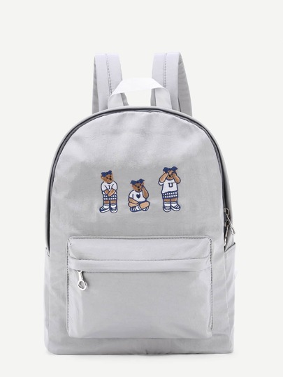 Bear Embroidery Pocket Front Nylon Backpack