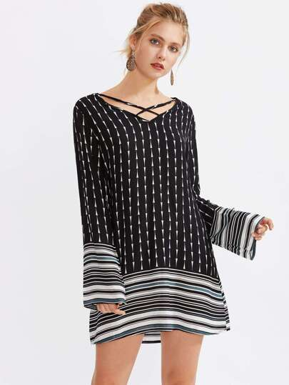 Criss Cross Front Random Striped Hem Dress