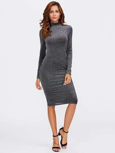 High Neck Glitter Form Fitting Dress