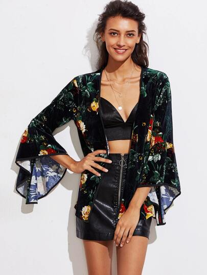Kimono manche cloche imprimé botanique en velours