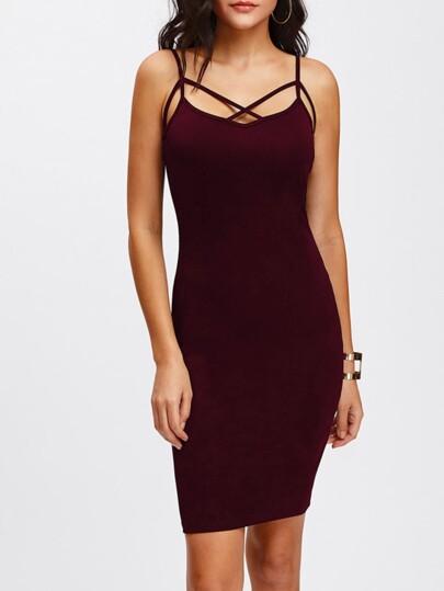 Crisscross Front Strappy Cami Skinny Dress