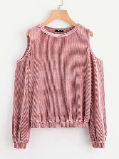 Open Shoulder Ribbed Velvet Sweatshirt
