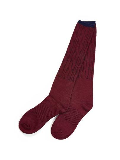 Socquettes à la jambe côtelées en coton