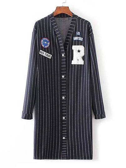 Patch Detail Striped Longline Coat