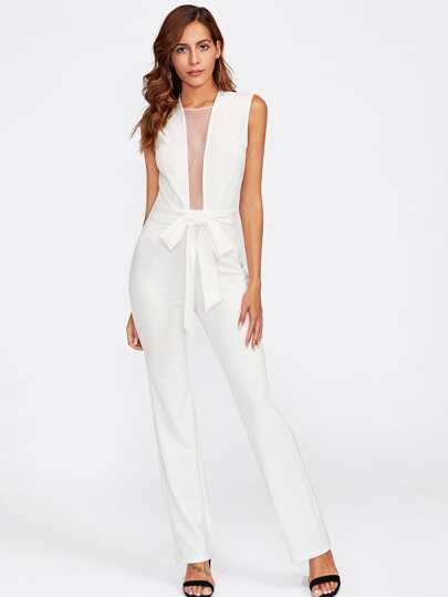 Mesh Insert Self Belted Tailored Jumpsuit