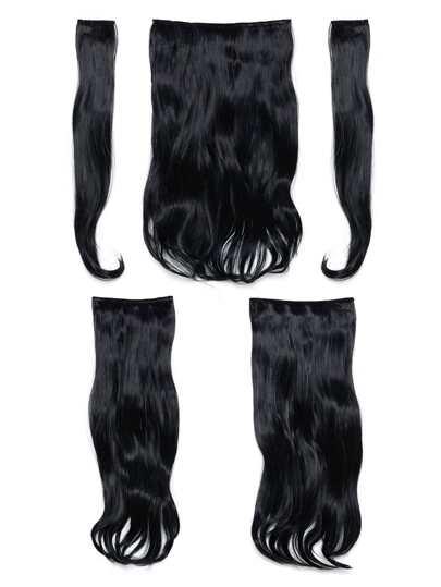 Jet Black Clip In Soft Wave Hair Extension 5pcs