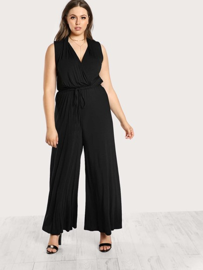 Solid Overlay Drawstring Tank Jumpsuit BLACK