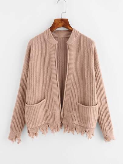 Manteau Pull avec poche avec pan déchiré