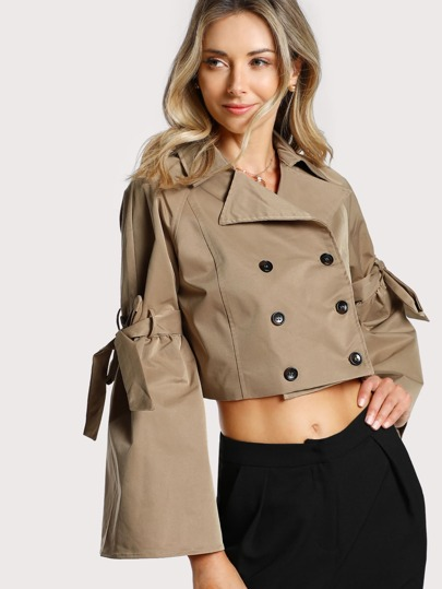 Bell Sleeve Cropped Jackets TAN