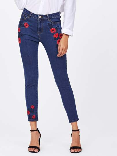 Dark Wash Rose Embroidered Jeans