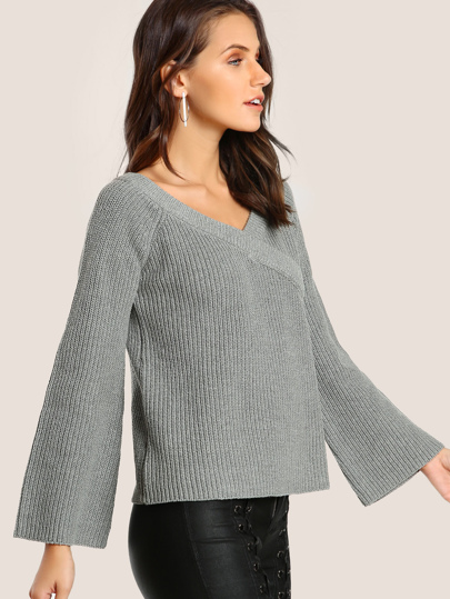 Criss Cross Ribbed Sweater GREY