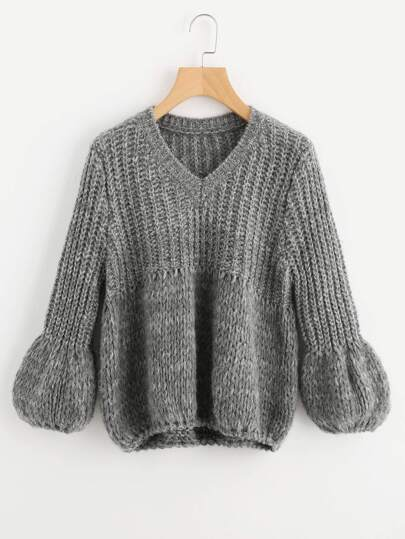 Puff Sleeve Mixed Knit Jumper