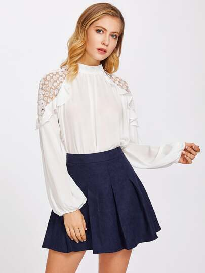 Flounce Circle Lace Shoulder Top
