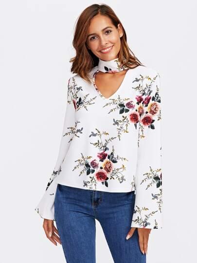 Flower Print Choker Neck Fluted Sleeve Top