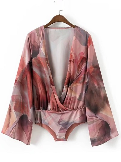 Abstract Print Surplice Plunge Neckline Bodysuit