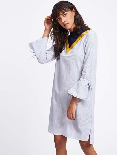 Cut And Sew Neck Bell Sleeve Pinstripe Shirt Dress