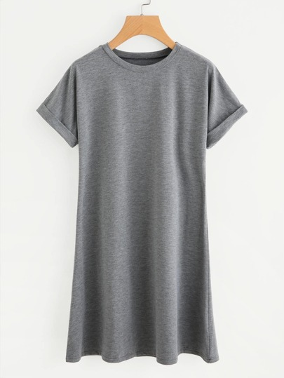 T-Shirt Kleid mit gerollten Ärmeln