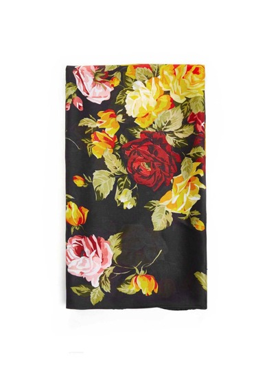 Flower Print Satin Scarf