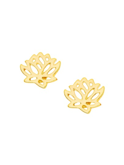 Hollow Lotus Stud Earrings