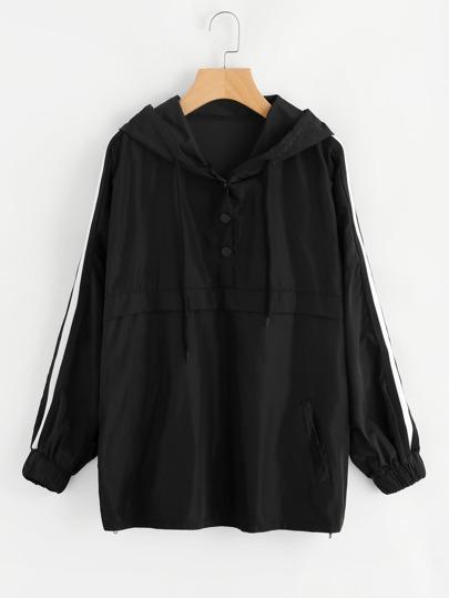 Hooded Striped Sleeve Sweatshirt