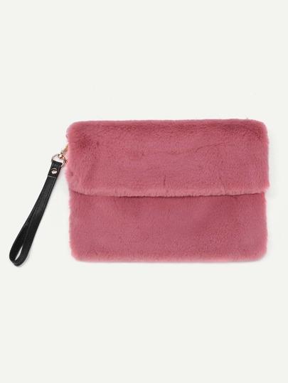Faux Fur Clutch Bag With PU Strap