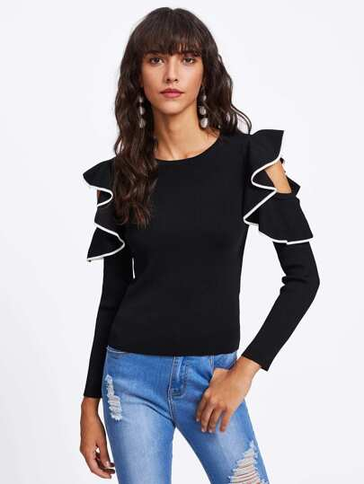 Contrast Binding Flounce Open Shoulder Ribbed Jumper