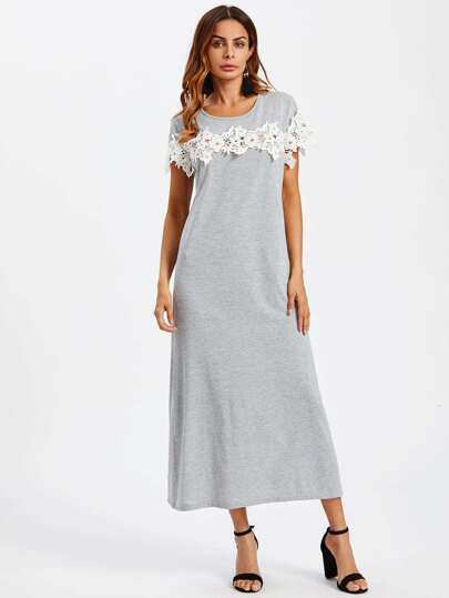 Lace Crochet Contrast Tshirt Dress