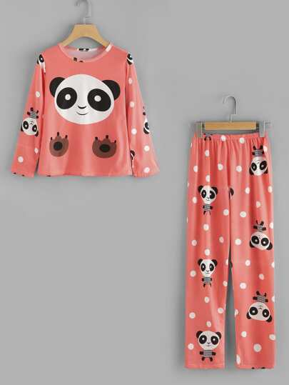 Panda Print Top And Pants