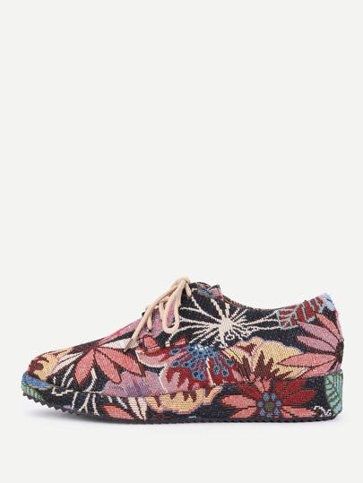 Zapatos jacquard con cordón