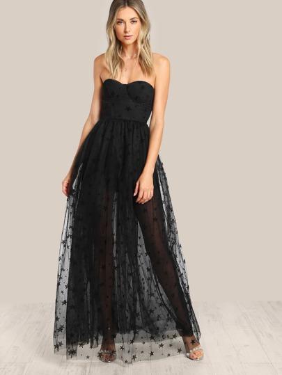 Star Flock Mesh Overlay Strapless Bustier Dress