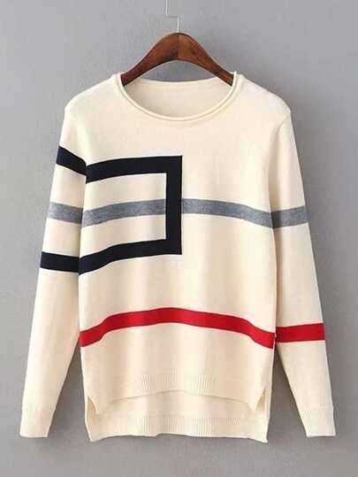 Geometric Pattern Dip Hem Sweater
