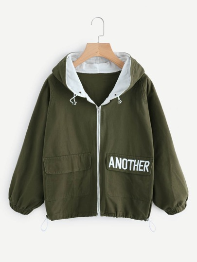 Hooded Letter Embroidered Drawstring Hem Jacket
