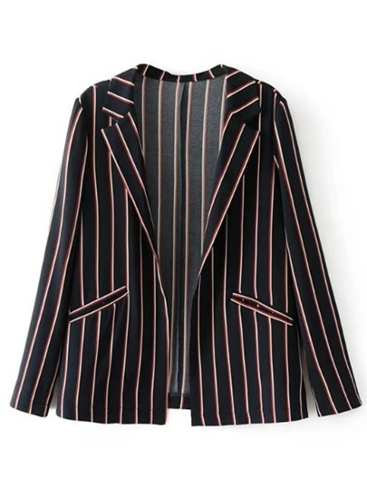 Tailored Striped Print Blazer