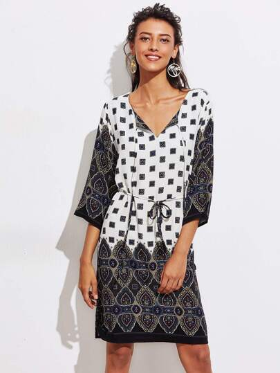 Tribal Print Self Tie Neckline Tie Waist Dress