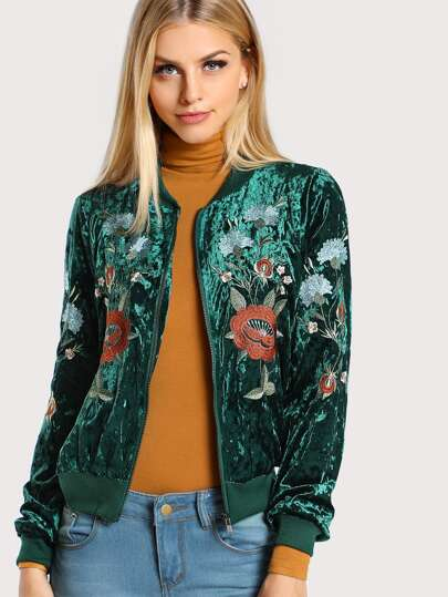 Embroidered Velvet Bomber Jacket DARK GREEN
