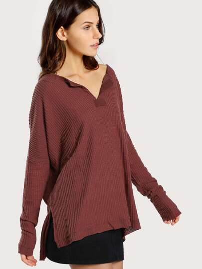 Soft Knit Long Sleeve Top MARSALA
