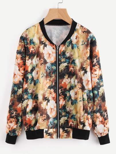 Contrast Ribbed Trim Allover Florals Jacket