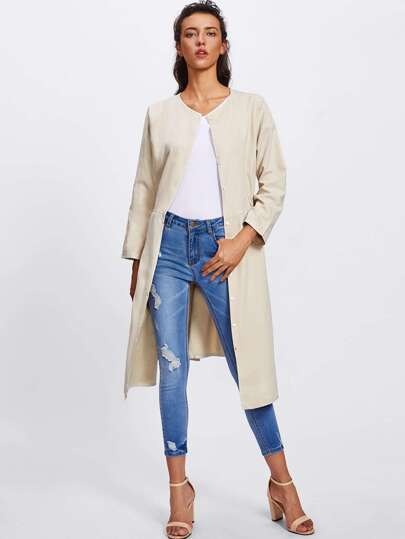 Elastic Waist Trench Coat With Belt