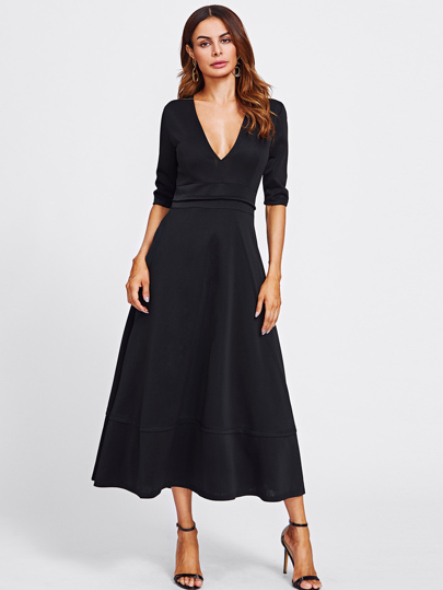 Deep V Neckline Long Dress