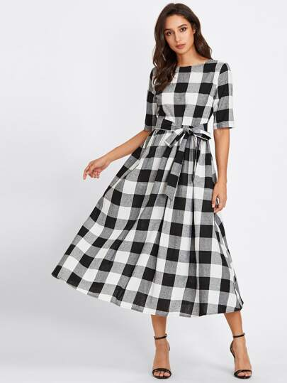 Buttoned Keyhole Self Tie Checkered Dress