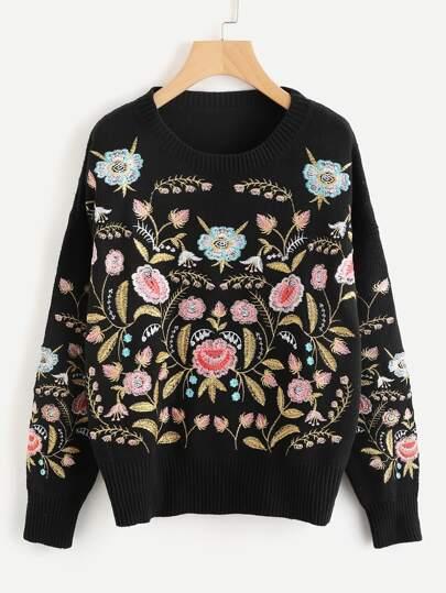 Maglione con ricamo botanico simmetrico